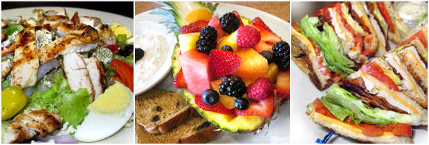 Delicious breakfast and dinner dishes at Downers Delight Restaurant
